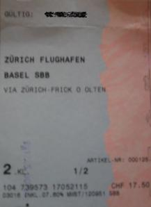 Train ticket from Zurich airport to Basel station